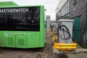 Newport Bus battery-electric Yutong E12s plugged in