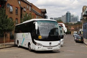 Yutong TC9 Mobility coaches with the London Borough of Tower Hamlets